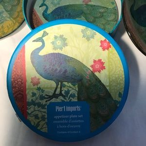 Pier 1 Peacock Appetizer Plate Set of 4
